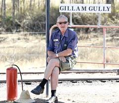 fire warden, Grandchester Model Live Steam Assoc Inc (Lance #) Tags: sun hat fireextinguisher gillamgully grandchesterqueensland outside people grandchestermodellivesteamassocinc australianphotography railwayphotography