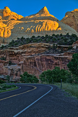 Navajo Dome at Sunrise (William Horton Photography) Tags: capitolreefnationalpark entradasandstone highway24 navajodome navajosandstone utah cliffs dawn dome geology morning sandstone sunrise vertical torrey unitedstates us