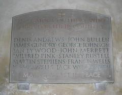 War Memorial, All Saints' Church, Farringdon, Hampshire (Living in Dorset) Tags: warmemorial wardead war memorial wwii allsaintschurch farringdon hampshire england uk gb johnbullen josephtynanwells henryjamesgundry georgejohnson ianconwaygiffordlywood johnphillipsmerrett wilfredcharlespink stanleyrustell martintyringhamstephens denisandrews johnewolfenden franciswells jackwolfenden