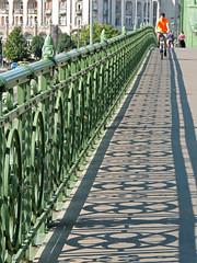 The bridge (Shahrazad26) Tags: budapest boedapest hungary hongarije ungarn magyarország bridge brug brücke pont hek fence barrière schaduw schatten shadow ombre ombra hid szabadsághid szabadságbridge vrijheidsbrug freedombridge