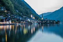 Village of Hallstatt, Austria. (rpiesio) Tags: alps mountains village hallstatt austria reflections lights sky blue colours lake lakes water canon caonon5dmarkii oberosterreich photography ef 2415mm f4l is ii usm lens wide angle long exposure smooth cool blues dark evening dawn tones