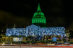 the standing march (pbo31) Tags: sanfrancisco california color night dark black nikon d810 september 2018 summer boury pbo31 civiccenter plaza cityhall green projection film standingmarch globalclimateactionsummit conference art mapping lightcasting dome larkinstreet lightstream roadway motion traffic