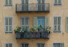 NiceBalconies-3396 (Adlestrop Images) Tags: alpesmaritimes côtedazure france nice provence travel vieilleville balconies balcony beige buff fawn green iron louvre plaster pottedplants shutters windowbox windows wroughtiron