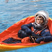 STS-46 MS Chang-Diaz floats in life raft during water egress training at JSC