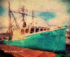 The Magellan (augenbrauns) Tags: sky olympusomdem1ii distressedfx wharf ptown provincetown macmillanwharf painterly blue boat creativecapecod