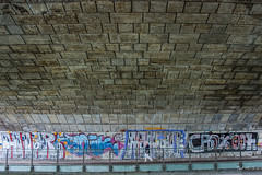 2018 - Germany - Munich - Maximilianstrasse Underpass (Ted's photos - Returns Late November) Tags: 2018 cropped germany munich münchen nikon nikond750 nikonfx tedmcgrath tedsphotos vignetting maximilianstrasse maximilianstrassebridge isarriver railing graffiti pathsandpeople peopleandpaths redrule red