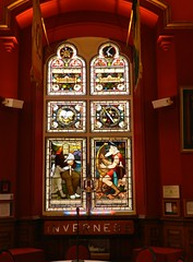 Stained Glass Window, Town House, Inverness, Aug 2018 (allanmaciver) Tags: stained glass town house inverness highlands scotland colours walter scott waverley novels ossian gaelic poet history duncan grant bught memory allanmaciver