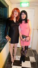 Night out Dublin 4 (eileen_cd) Tags: th blackdress goldclutch highheels redhead pinkdress patternedtights glasses crossdresser transvestite cd tv dublin