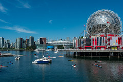 Science World Sphere at Creekside Park, Vancouver (paul.wasneski) Tags: vancouver britishcolumbia canada ca viewpoint harbor harbour warf sea sunrise view skyscraper skyline architecture
