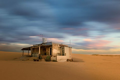 TIn CIty sunset || Stockton Beach (David Marriott - Sydney) Tags: bobsfarm newsouthwales australia au tin city sand abandoned house long exposure cloud desert derelict