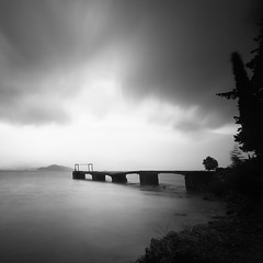 Old pier IV (ilias varelas) Tags: light landscape longexposure mood mono monochrome mountain nature blackandwhite bw clouds sky sea seascape square seafront atmosphere varelas greece