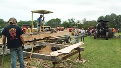 VID_20170716_142810384-e (clay53012) Tags: antiquetractorshow antique tractor ochs ozaukeecountyhistoricalsociety pioneervillage sawmill steam logs saw boards beltdrive