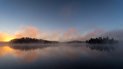 '16 minutes earlier' (Canadapt) Tags: sunrise lake reflection fog mist morning keefer canadapt