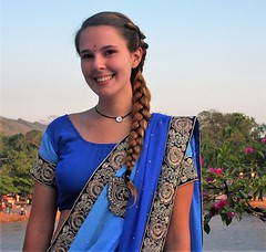 Kelley at Ganga Concert (Scott RS) Tags: portrait blue beautiful gorgeous eyes twinkle sparkle adorable radiant ganga india classicalconcert gangesriver hotsummer stunning sari dress hair braid necklace skin soft tender attractive sweet kind compassionate amazing canon40d