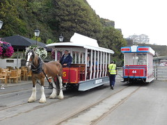Douglas Bay Horse Tramway: Kewin, and Cars 45 and 44, Derby Castle (25/07/2018) (David Hennessey) Tags: douglas bay horse tramway kewin car 44 45 derby castle