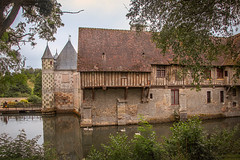"""walking round from the left of the drawbridge and all the way round and back, the lovely Château de Saint Germain de Livet, fine art colour, Pays d'Auge, Normandy, France (grumpybaldprof) Tags: """"châteaudesaintgermaindelivet"""" """"paysd'auge"""" normandy normandie france medieval renaissance artists collombage """"halftimber"""" moat castle chateau liseiux """"greenstones"""" copper slate beautiful history monument museum """"eugènedelacroix"""" calvados """"léonriesener"""" checked charming lovely water reflection drawbridge towers dragons colour colours colourful """"wideangle"""" ultrawide reflections canon 70d """"canon70d"""" sigma 1020 1020mm f456 """"sigma1020mmf456dchsm"""" mood atmosphere"""