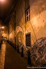 Graffiti on a Ponta Delgada Side Street (adventurousness) Tags: são miguel street scene atlantic sidewalk açores north pdl island azores graffiti cobblestone art ocean portugal atlanticocean northatlantic streetart streetscene sãomiguel pontadelgada pt