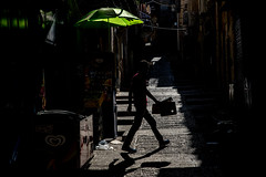 The Yellow Umbrella-DSC_7611 (thomschphotography3) Tags: israel jerusalem light shadow colour colourful dark black yellow streetphotography silhouette