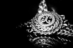 BEAUTY IS... (Ageeth van Geest) Tags: juwelry neckless vintage beautiful beauty macromondays macro cc cocochanel blackandwhite monochrome bw zwartwit