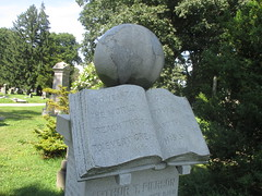 Granite Book Grave Marker and Globe 7614 (Brechtbug) Tags: granite book grave marker globe greenwood cemetery statue gown graveyard tomb tombstone crypt mausoleums angels standing posed green wood brooklyn new york city 2018 nyc 09012018 books reading album folio tome brown stone
