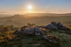 Honeydew (www.neilporterphotography.com) Tags: honey bag tor dartmoor honeybag sunrise moor rock sunstar intothesun hound morning fresh