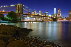 """""""We Honor Them by Remembering Them"""" (SunnyDazzled) Tags: 911 september11 remembrance honor tribute nyc skyline brooklyn bridge shore manhattan night lights longexposure janes carousel newyork rocky rivier water reflections skyscraper"""