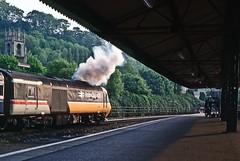 Bath Spa, May 1988 (David Rostance) Tags: hst class43 43192 intercity125 bathspa railwaystation church stmarks