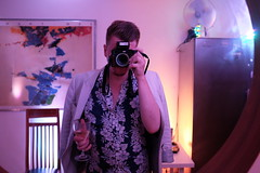 DJ Killer party (Gary Kinsman) Tags: fujifilmxpro1efx20 efx20 flash slowsync slowsyncflash clapton fujix100t fujifilmx100t 2018 london hackney e5 party houseparty pose posed portrait portraiture people person highiso late night longexposure slowshutterspeed 1second purple mirror selfportrait selfie wine glass whitewine