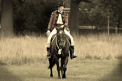 Revolutionary War Days, Cantigny Park. 30 (EOS) (Mega-Magpie) Tags: canon eos 60d outdoors cantigny park wheaton dupage il illinois usa america sepia revolutionary war days soldier people person man guy dude fella horse horseman equine