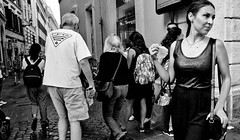 Don't follow the crowd. (Baz 120) Tags: candid candidportrait city candidphotography contrast street streetportrait strangers sony a7 rome roma europe women monochrome monotone mono noiretblanc bw blackandwhite urban life portrait people italy italia grittystreetphotography decisivemoment