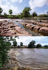 A then and now shot of the South Platte River near the Adams County Fairgrounds on September 13, 2013. (Marla Winter)
