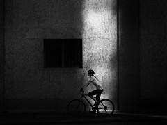 biker (Sandy...J) Tags: urban street streetphotography sw schwarzweis strasenfotografie shadow light blackwhite bw monochrom bike bicycle fahrrad wall mauer olympus noir contrast kontrast silhouette lines