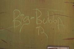 BIG BUBBA (1992) (TheGraffitiHunters) Tags: graffiti graff spray paint street art colorful benching benched freight train tracks moniker streak markal big bubba 1992