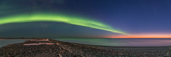 Northern Lights Reaching to a Sunset (Chriskellyphotography) Tags: panoramic panorama driftwood beach arcticocean northernlights northwestterritories sunset pingo