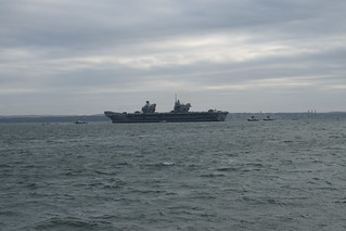 HMS Queen Elizabeth departing Portsmouth