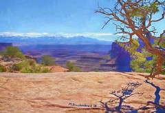 Overlook by the Visitors Center, Canyonlands National Park, Utah (PhotosToArtByMike) Tags: canyonlandsnationalpark utah ut digitalpainting digitalart painting photopainting shafercanyonoverlook canyonlands lasalmountains visitorscenter overlook limestone erosion scenic canyon landscape