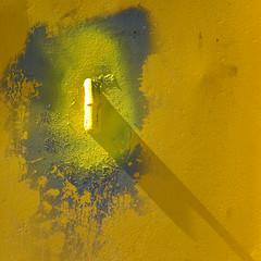Dropping Shadows (Visual Stripes) Tags: minimal abstract texture yellow shadow light panasoniclumixg1 sigma105mm macro microfourthirds mft m43 square composition