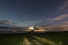 The Rising Moon (Kjartan Guðmundur) Tags: iceland landscape house moonlight moon stars sky ocean outdoor clouds grass canoneos5dmarkiv sigma14mmf18art kjartanguðmundur nightscape nocturne ngc