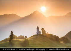 Slovenia - Julian Alps - Church Of St Primoz - Iconic Jamnik church at Sunrise (© Lucie Debelkova / www.luciedebelkova.com) Tags: churchofstprimoz julianalps jamnikchurch jamnik alps alpine slovenia slovene slovenija republicofslovenia republikaslovenija europe southeasteurope eu wonderful fantastic awesome stunning beautiful breathtaking incredible lovely nice best perfect world exploration trip vacation holiday place destination location journey tour touring tourism tourist travel traveling visit visiting sight sightseeing wwwluciedebelkovacom luciedebelkova luciedebelkovaphotography landscape mountains nature sunrise calm field grass mountain morning sky clear tree trees church lonely