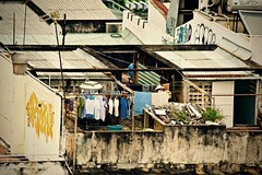 Rooftop:  Woman Hanging the Laundry to Dry (Ginger H Robinson) Tags: rooftop roof corrugated metal woman hangingclothes clothes bucket laundry dry home dwelling apartment city tropical autumn morning