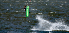 Lift-off and a thumbs up (maytag97) Tags: maytag97 nikon d750 tamron 150600 150 600 kite board kiteboard boarding kiteboarding barge columbia river usa windy wind sport fun recreation outdoor outside boat water columbiariver oregon hoodriver