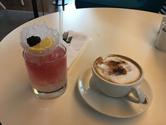 Bramble and a Cappuccino in the Virgin Atlantic Clubhouse (David Jones) Tags: heathrowairport virginatlantic bramble cocktail cappuccino coffee clubhouse