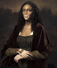 """thepowerofblackwomen: """"Art of Beauty"""" by Pari Dukovic with Winnie Harlow as Mona Lisa and Halima Aden as the Girl with a pearl Earring. Beautiful (medievalpoc) Tags: interpretations art history nice reenactment garb photography"""