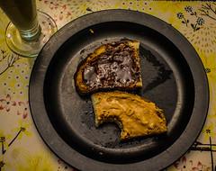 2018 - photo 253 of 365 - more sourdough bread for breakfast (old_hippy1948) Tags: marmite peanutbutter bread plate milk