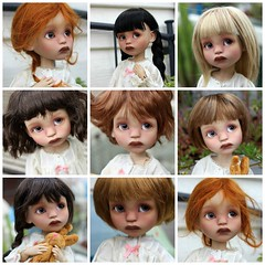 Robin Wigs Collage (dambuster01) Tags: little cosmos dolls robin v2 tiny tinies bjd jointed resin teaskin tryingwigs