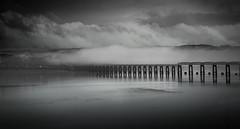 Rising Mist (daedmike) Tags: scotland dundee tayrailbridge desaturated blackandwhite grey bridge river mist fog haar cloudy
