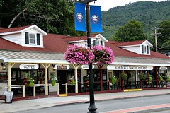BEACH ROAD SHOPS (MIKECNY) Tags: building store shop pole banner beachroad lakegeorge flower sign