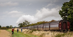 Hello! Goodbye! (Peter Leigh50) Tags: steam sky countryside landscape train trees track field a4 60009 railway railroad rail transport