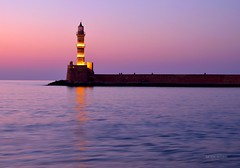 Faro Chania Creta Grecia (Arcieri Saverio) Tags: grecia faro chania lacanea creta crete isola isle mare marenostrum sunset sun tramonto europe luce night orablu