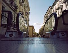 Targeting the horizont (Todron) Tags: pentax pentax6x7 6x7 55mm 55mmf4 wide wideangle grandangolo reflex filmcamera film 120 220 mediumformat medioformato kodak portra 160asa portra160 portra160vc kodakportra160vc c41 negativefilm napoli naples piazzafuga vomero stairs scale scalemobili escalators nuvole clouds cielo sky bluesky